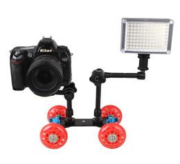 DSLR Kamera Video Fotoğraf Raylı Rolling Parça Slider Patenci Masa Dolly Araba için Esnek Speedlite DSLR Kamera Kamera Rig cheap dolly video slider nereden dolly video kaydırıcı tedarikçiler