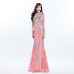 Wholesale Luxury Ladies Dress Prom - Luxury Celebrity Long Coral Prom Dress Beaded High Neck Formal Gowns Long Sequin Dress Real Photo Gown Young Lady Evening Dresses