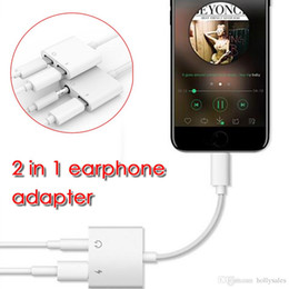 Wholesale Cellphones Chargers - 2 in 1 smart cellphone charge contactor + audio adapter cable for 3.5mm head earphone adapter for music enjoy