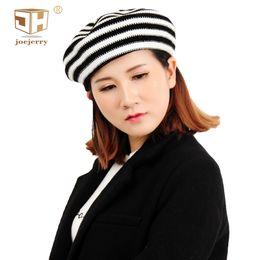 JOEJERRY 2018 Berretto femminile lavorato a maglia berretto francese cappello a righe da donna nero blu rosso da