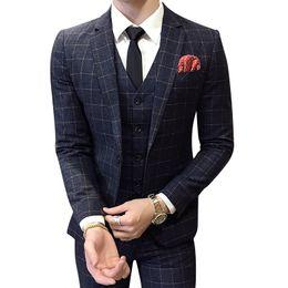 Wholesale Korean Fashion Wear Men - Suits men singles bridal salon Korean fashion Collocation style personality hair stylist three custom casual wear Free shipping