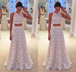 Wholesale Overlay Prom Dresses - Sexy Two Piece Prom Dress 2018 New Pattern Jewel Neck A Line White Lace Overlay Nude Underneath 2 piece Vestidos