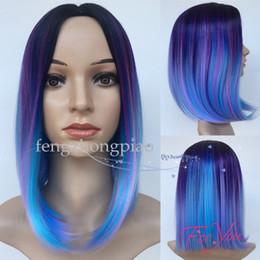 2020 cheveux humains arc-en-ciel FZP Bob Perruque 12 pouces Cosplay Perruques Courtes Pour Les Femmes Synthétique Perruque De Cheveux Arc-En-Couleur Disponible Simulation Perruque de Cheveux Humains cheveux humains arc-en-ciel pas cher