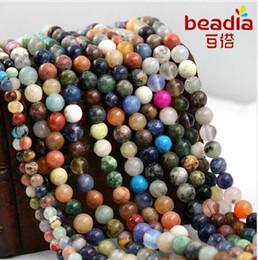 6mm halb kostbare perlen online-Hohe Qualität 4mm 6mm 8mm Gelegentliche Mischfarbe Natur Lose Halbedel Runde spacer Stein Perlen für DIY Mode Halskette Schmuck