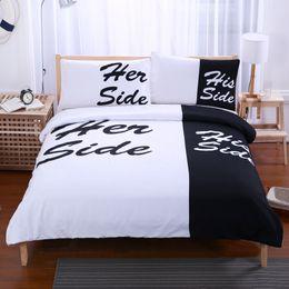 Wholesale White Full Bedroom Set - Black White Reactive Printing Bedding Set Twin Full Queen King Size Bedroom Decoration Duvet Cover Pillow