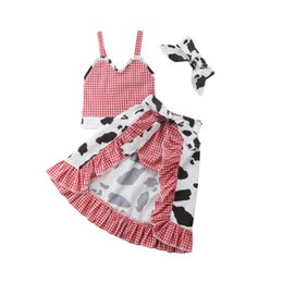 Платье для девочек онлайн-New Fashoin Kids Baby Girl Infant Cow Plaid Ruffles T-shirt Tops Dress Skirts Outfits Clothes Sunsuit 4pcs 1-5T