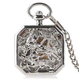 Wholesale Hour Hand Men - Luxury Silver Pocket Watch Doulbe Tiger Half Hunter Mechanical Hand Wind Hour Irregular Skeleton Men Women Pendant 2017