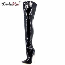 lederstiefel mit hohen stiefeln Rabatt Wonderheel New extreme high heel appr.18cm / 7 '' Ferse spitz sexy Lackleder Stiletto Metall Ferse sexy Fetisch Crotch Stiefel