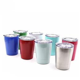 Портативные бокалы онлайн-Портативный бокалы красочные 8 унций из нержавеющей стали чашка кофе жаропрочных вакуумная кружка с крышками горячей продажи 12 5hk C