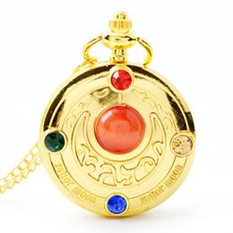 Lua de marinheiro de desenhos animados de anime on-line-Relógio De Bolso De Quartzo De Ouro Colar Feminino Dos Desenhos Animados Menina Bonita Sakura Anime Sailor Moon Relógio De Bolso De Diamante