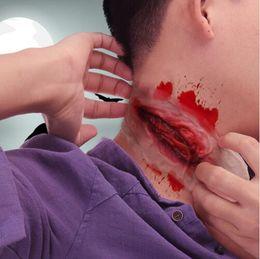 Tatuagem de sangue on-line-Halloween Zombie Pescoço Cicatriz Tatuagens Falsas Cicatrizes Trauma Sangrento Horror Ferida Sangue Ferimento Adesivo