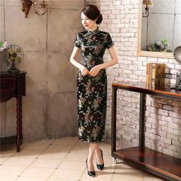 Kimono vestido tradicional online-Las mujeres negras chinas apretado Bodycon vestido Sexy Cheongsams DragonPhoenix Split Trajes tradicionales vestidos de Año Nuevo las mujeres Kimono