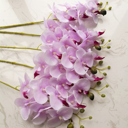 """Wholesale Hot Pink Silk Flowers - HOT Silk Single Stem Butterfly Orchid 80cm 31.5"""" Length Artificial Flowers Mini Orchids Phalaenopsis 7 Colors for Wedding Centerpiece"""