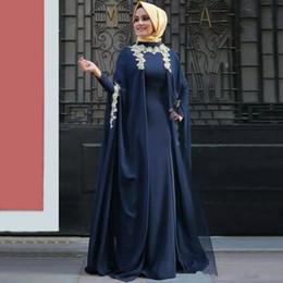 Appliques abito marocchino online-Generoso maniche lunghe arabo musulmano abiti da sera applique caftano abaya abiti marocchino caftano formale abiti del partito