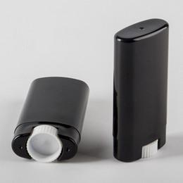 Wholesale Empty Deodorant - 5000pcs 15g Plastic Empty DIY Oval Lip Balm Tubes Portable Deodorant Containers Black Lipstick Fashion Cool Lip Tubes