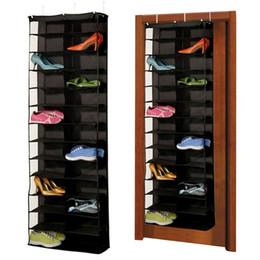 Appendiabiti online-1Pc 26pairs Shoes Hanger Storage Bags Over The Door Hanging Organizzatore Alimentari Rack Space Saver Scatole Home Organizzazione