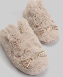 menino modelo garota vestida Desconto Bela orelha de coelho à prova d 'água inferior de algodão de pelúcia e chinelos de algodão em casa sapatos