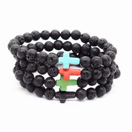 Wholesale Black Stone Cross Bracelet - Volcanic stone bracelets weathering agate stone matte yoga set Buddha Beads Bracelet mens Bracelets EthnicTurquoise cross for womens Jewelry