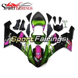 black purple motorcycle fairings Promo Codes - New Shark Green Purple Black 2005-2006 ZX6R Fairing Kit For Kawasaki ZX6R ZX-6R Year 2005 2006 Sportbike ABS Motorcycle Body Kit Bodywork