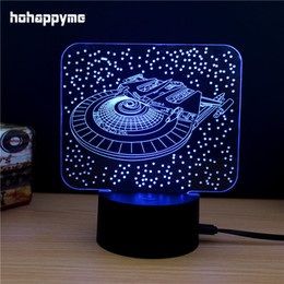 Wholesale Room Plaques - Space Ship LED Light Sign Acrylic LED Sign Home Decor Gift Bar Pub Bedroom Child's Room Panels Plate Plaques Desktop Decoration