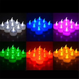 Wholesale Pink Flicker - 3.5*4.5cm Battery Operated Flicker Flameless LED Tealight Tea Candles Light Wedding Birthday Party Christmas Decoration bb584-594 2018012215