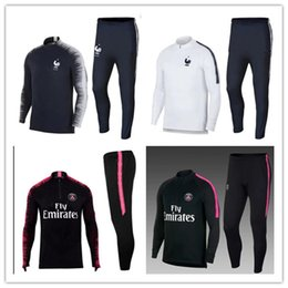 Wholesale psg jacket - 2018 19 PSG adult Soccer tracksuit set Paris tracksuits 18 19 pogba MBAPPE NEYMAR JR LUCAS Football jacket kit Training suit