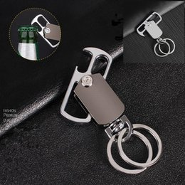 Wholesale function chain - Beer bottle opener men car multi-function key ring opener rotating waist hanging key chain kitchen tool GGA568 30pcs