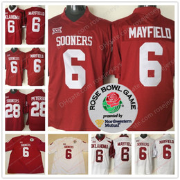 Wholesale Bowl Red - Oklahoma Sooners #6 Baker Mayfield Men Youth Kid Adult Red White Limited 2018 NCAA Rose Bowl Patch Stitched College Football Heisman Jerseys