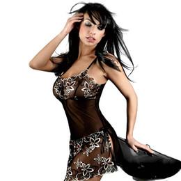 Collants florais de renda preta on-line-Verão senhora sexy sem mangas rendas pijamas preto transparente sexy sedutor estilingue de seda apertado pijama perspectiva tentação