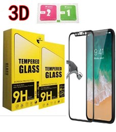 protectores de pantalla diseñados Rebajas Para Iphone X 8 Pantalla de cubierta completa de cristal templado 3D Diseño de fibra de carbono 9H 0.33mm Película protectora de borde suave sin caja de venta