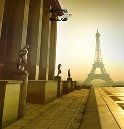 2019 8x8ft foto sullo sfondo Fondo dello studio di fotografia del contesto del paesaggio della torre Eiffel di Parigi di tramonto del vinile 5x7ft