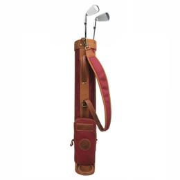 Tourbon Clube de Golfe Do Vintage Portador Lápis Estilo 24 oz Couro De Lona Saco De Arma de Golfe Intercalar Capa 78 CM Vermelho Vinho Saco De Domingo de