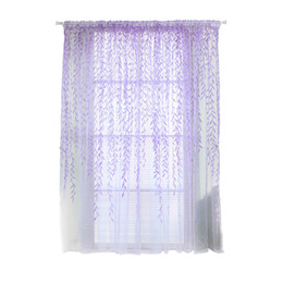 Wholesale Vertical Window Shades - Shade Window Drape Valances Curtain Transparent Tulle Window Sheer Screen For Balcony Bedroom 100X200CM (Purple)