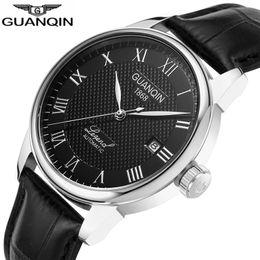 будильник золотые часы Скидка GUANQIN Automatic Mechanical business gold Men Watches Top  Leather wristwatch alarm clock 008815 Relogio Masculino