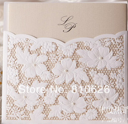 Wholesale White Paper Envelopes - 25pcs lot FREE SHIPPING White LACE Flower Wedding Invitation Card with Blank inner insert paper and envelope