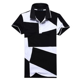 2019 camisa polo blanca hombre 5xl Diseñador Polo Camisa Hombre Moda Verano Nuevo Hombre Blanco y Negro Costura Algodón Polo Corto Manga corta Polo Slim Hombres 5xl 6xl rebajas camisa polo blanca hombre 5xl
