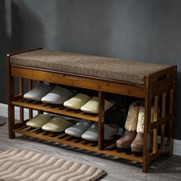 Stockage de chaussures en bambou en Ligne-Rangement pour porte-chaussures en bambou Rangement Banc Banc en bambou Meubles pour chaussure Maison Entrée Etagère Support Rangement Ottoman