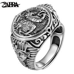 da0f3d3ecc ZABRA Gothic Egypt Pharaoh Tutankhamun Real 925 Sterling Silver Rings For  Men Resizable Adjustable Vintage Punk Jewelry For Male