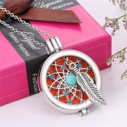 Wholesale Dream Pendant - Charm Necklace Perfume Locket Fragrance Oil Dream Catcher Pendant Necklace for Women Diffuser Necklace Jewelry Gift 450909