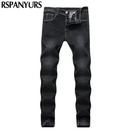 Wholesale Denim Tube - 2018 New Street men white line black designer jeans fashion pure cotton straight tube waist repair elastic trousers