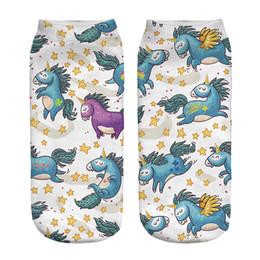 Wholesale Character Socks - 1pair 3D Angel Hope Horse Printed Short socks Women Men Low Cut Ankle Cartoon Cotton Casual Character Sock New Arrival