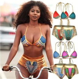 Wholesale high waisted two piece swimsuits - Sexy South African golden halter high waisted bikini high waist swimsuit two pieces swimwear women bathing suit bather maillot de bain B11