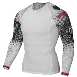 lifting shirts Promo Codes - Muscle Men Compression Tight Skin Shirt Long Sleeves 3D Prints Rashguard Fitness Base Layer Weight Lifting Male running Tops