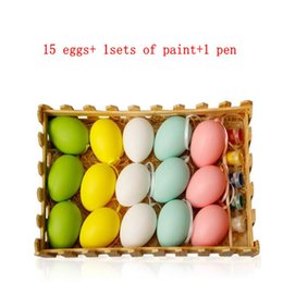 Wholesale paints for kids - Easter Decoration For Kids Children DIY Painting Egg Hanging Easter Egg Easter DIY colored eggs hand painted egg toys KKA4456