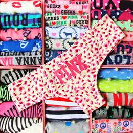 Wholesale girls blue underwear - Girl 100% Cotton Stripe Panties Women Underwear Love Pink Thong Panties Briefs Letter Women Panty