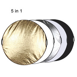 Wholesale Photo Discs - 5 in 1 Portable Collapsible 60cm 110cm Light Round Photography Reflector Board Non-slip Handle for Studio Multi Photo Disc