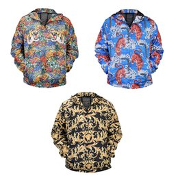 Wholesale Tiger Hooded Coat - Casual Men's Coat Windbreaker Tiger Colorful Printing 3D Digital Zipper Quick-drying Jackets Hooded Outerwear 3 Style
