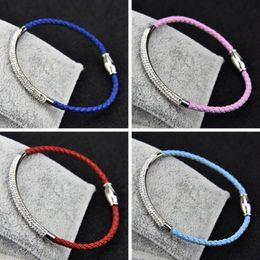 Wholesale Diamond Braid Bracelet - High Quality Genuine 8 colors Leather Snaps 3mm Bracelets Magnetic Braided Bangles Shining CZ Diamond Leather Bracelet for Women