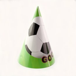 Wholesale Football Party Favors - 18pcs Happy Birthday Party football Soccer Theme Kids Favors Disposable Birthday Paper Hats Caps Decoration party Supplies
