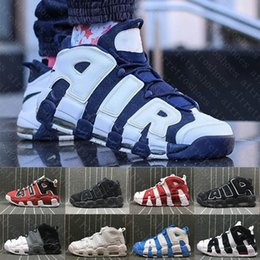 Wholesale Winter Shoes Sneakers - (With box) Air More Uptempo QS Olympic Bulls Tri-Color UNC Black Mens Women Basketball Shoes Cheap Airs 3M Scottie Casual Sneakers 41-47